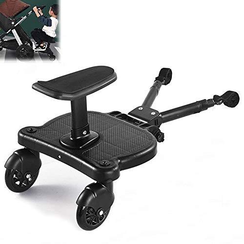 EnweNge Kinderbuggy Trittbrett mit Sitz Trittbrett für Kinderwagen Buggyboard, Kiddy Board, Buggyboard mit Zusatzsitz, Kinderwagen Buggy bis 25 kg