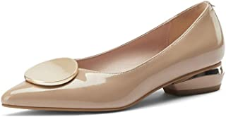 TinaCus Glossy Patent Leather Women's Handmade Cute Decor Pointed Toe Low Chunky Heel Slip On Comfortable Loafer Pump Shoes (nude, US5.5)
