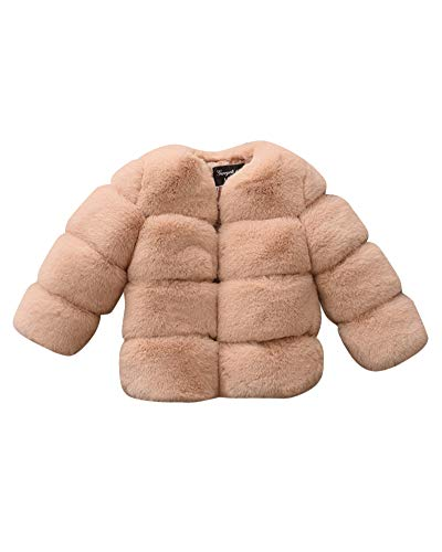 ShiFan Giacca del Mantello per Ragazze Bambino Pelliccia del Faux Cappotto Caldo Coat Cammello 140