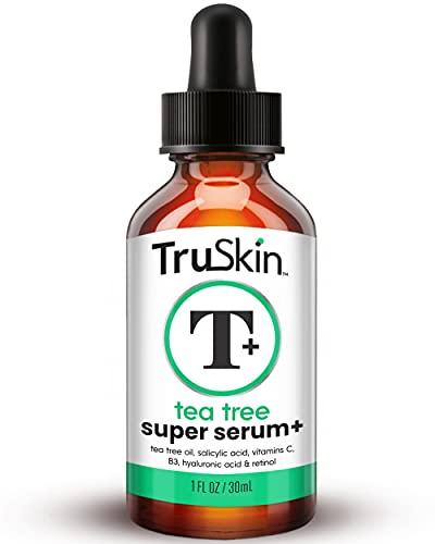 TruSkin Té Tree Clear Skin Super Suero, formulado para el tratamiento del acné con aceite de árbol de té, vitamina C, ácido salicílico y retinol, 1 fl oz