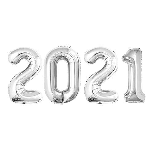 GOER 42 Inch 2021 Silver Foil Number Balloons for 2021 New Year Eve Festival Party Supplies Graduation Decorations