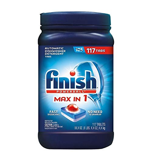 Finish Max in 1 Powerball, 110ct, Wrapper Free Dishwasher Detergent Tablets