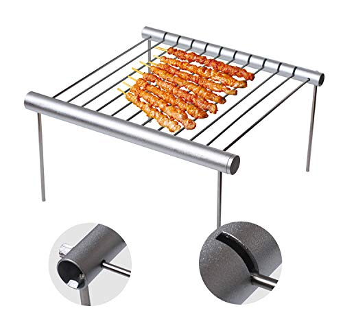 CALFOLLOW Portable Camping Grill, Folding Compact Stainless Steel Charcoal Barbeque Grill for Campers, Backpacking, Backyards, Survival