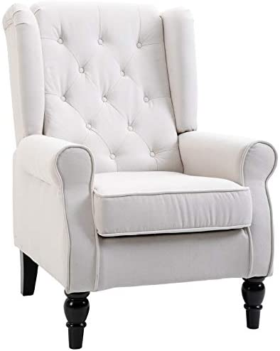 HOMCOM Button-Tufted Accent Chair with High Wingback, Rounded Cushioned Armrests and Thick Padded Seat, Cream White