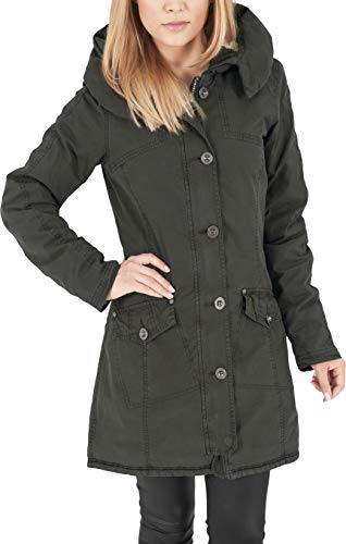 Urban Classics TB1088 Damen Jacke Jacke Garment Washed Long Parka grün (Olive) Medium
