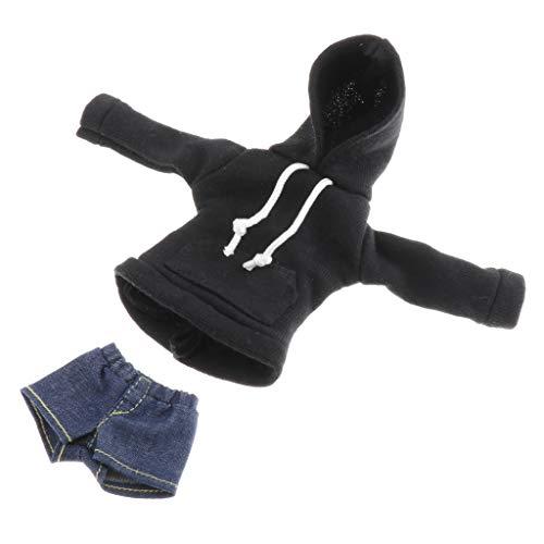 HomeDecTime Juego de 2 Piezas de Muñecas Negras Hechas a Mano con Capucha Y Pantalones Cortos para Muñecas Articuladas de Bola 1/6