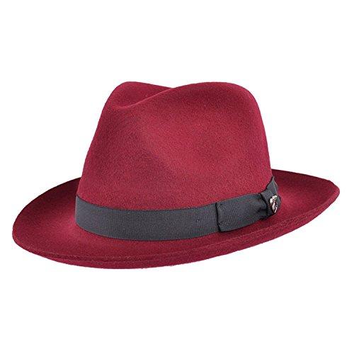 Chapeau mou de style Fédora Gladwinbond fabriqué à la main, de qualité, avec bande assortie, 100% laine - Rouge - Large