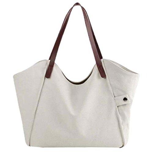 Bolso Bandolera Bolsa de Hombro de Lona Grande Blanco para Mujer y Shoppers por ESAILQ I