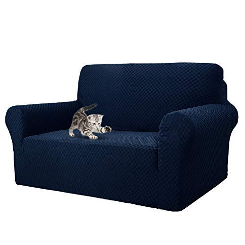 MAXIJIN Fundas de sofá jacquard para 2 plazas, súper elásticas, antideslizantes, para perros y mascotas, protectores de muebles elásticos (2 plazas, azul marino)