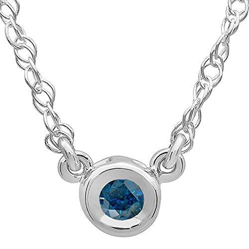 Dazzlingrock Collection 0.25 Carat (ctw) 14K Round Blue Diamond Ladies Bezel Set Solitaire Pendant 1/4 CT, White Gold (0.25 Ct Pendant)