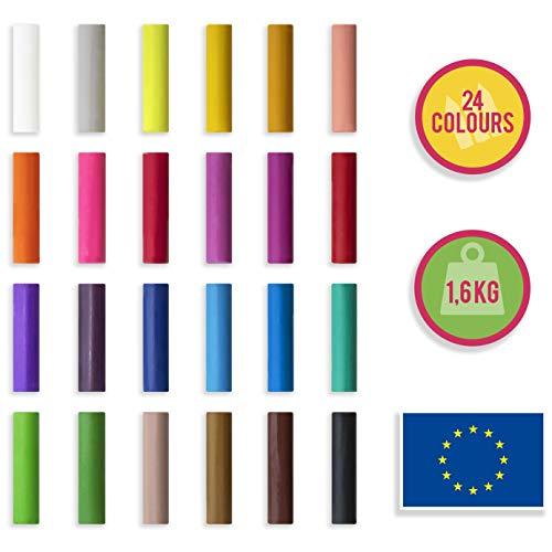Creative Deco Echte Boetseerklei voor Kinderen 24 Kleuren 1600g | Gemaakt in de EU | Droogt Nooit Uit | Glutenvrij | Gekleurd | Perfect voor Kinderen | Veilig en Niet Giftig