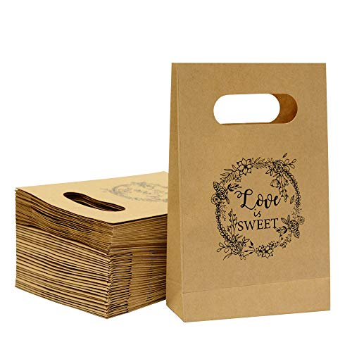 Brown Craft Paper Bag with handled Friday Night Craft Treat Bags 8.5 * 6 * 2.5 Inch for Wedding Party Business (50pcs)