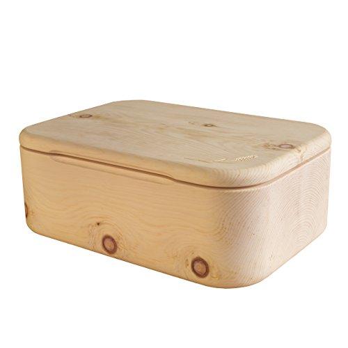 Brotkasten aus einem Stück Zirbenholz – Qualität aus Südtirol 42 x 30 x 16 cm (Brotdose Zirbenholz, Brotbox Holz, Brottruhe, Brotbehälter)