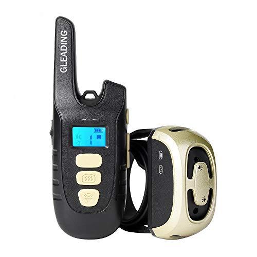 GLEADING Collar de Adiestramiento para Perros, Recargable y Resistencia al Agua de IP67, Mando a Distancia de Rango de 500 Metros con Modo de Vibración y Pitido de Alerta