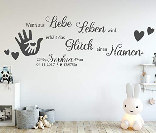 tjapalo® dgr-tk42 Wandtattoo Kinderzimmer Baby Wandtattoo Spruch wenn aus Liebe Leben wird mit Name Geburtsdaten Datum Wunschname, Größe: B150xH50cm