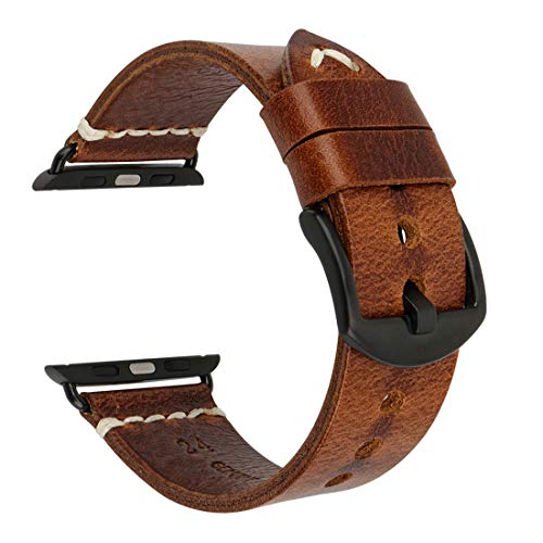 MAIKES Correa Reemplazable para Apple Watch 42mm, 44mm, 40mm, 38mm Apple Watch Band para Series 4/3 / 2/1, Acero Inoxidable (Band For Apple Watch 42mm, Light Brown+Black Buckle)