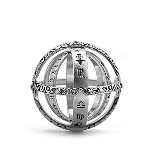 Hozora Bola Anillo astronómico Esfera del Anillo de Dedo cósmico Regalos de la joyería Amante de los Pares (Plata)