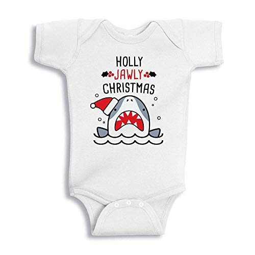 Holly Jawly Christmas Shark Baby Onesie Infant One Piece Bodysuit Newborn White