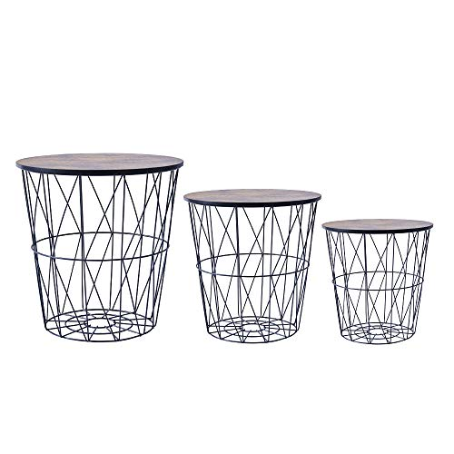 Saadiya Round Nested Tables Nesting Tables with Metal Wire Frame Removable Top Sofa Side Table End Table Coffee Table Storage Basket Small Table for Living Room Kitchen