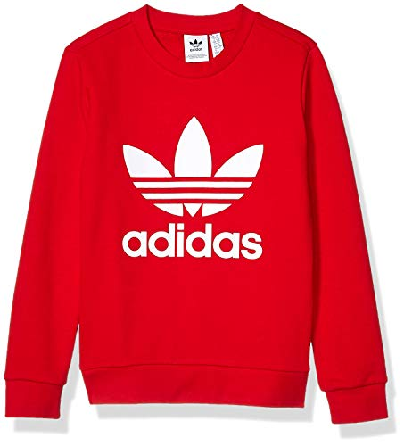 adidas Originals Little Kids Trefoil Crewneck Sweatshirt, Scarlet/White, Small