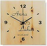Zirbenuhr, Wanduhr aus Holz, DCF, Funkuhr, im Modern-Design - flüsterleise - mit individueller Beschriftung - das ideale Geschenk zur...
