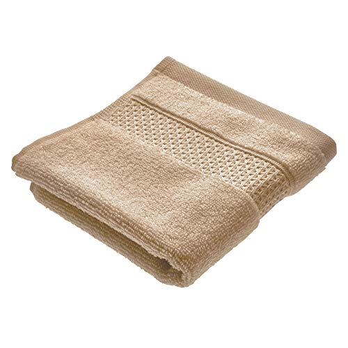 Price comparison product image iDesign Face Cloth,  Small Embellished Hand Towel Made of 100 Percent Cotton,  Soft Flannel Face Cloth for Face and Hands or for Shower and Bath,  Beige