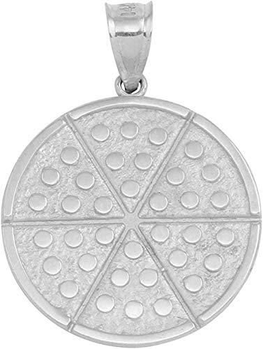 NC122 Collar con Colgante Colgante Circular de Seis rebanadas de Pizza de Plata de Ley 925