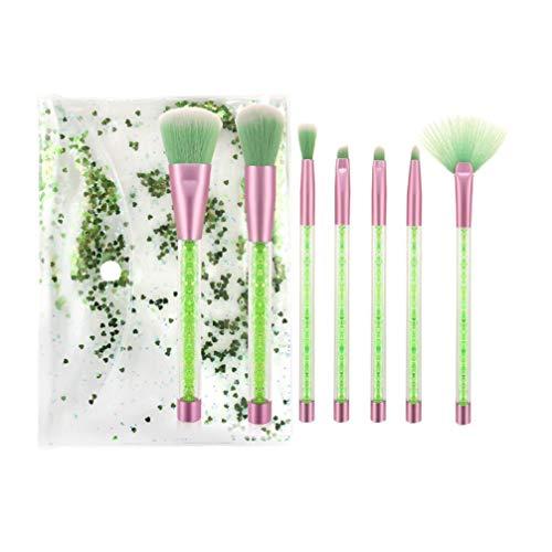 Lurrose 7 Pcs Pinceau de Maquillage Ensemble Cristal Clair Poignée Premium Synthétique Fondation Poudre Anti-Cernes Ombres à Paupières Maquillage Pinceau Kit avec Sac