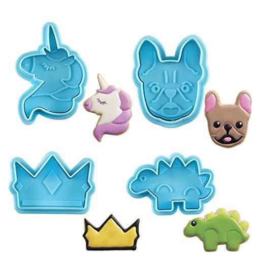 Orapink - Set di 4 stampi per biscotti a forma di unicorno, dinosauro, corona e cane