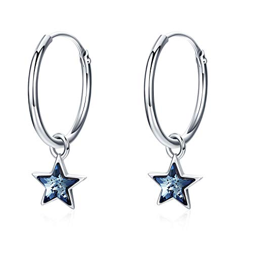 Star Hoop Earrings 925 Sterling Silver Small Hoop Earrings Star Crystals Cartilage Hoop Earrings for Girls Sleeper Hoop Earrings Gifts for Women