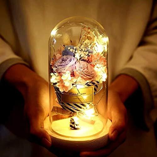 プリザーブドフラワー ギフト 母の日 ガラスドーム 枯れない花 ドライフラワー ロース プリザ ラッピング済み ケース入り 永遠の花 ギフトボックス・手提げ袋・メッセージカード付き 四色 LEDライト付き 手作り 女性 お祝い 結婚祝い 開店祝い 記念日