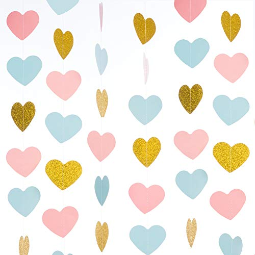 WEVEN Gold Glitter Pink Blue Paper Heart Garland, Hearts Banner, Hanging Party Decorations for Wedding, Thanksgiving, Baby Shower, 1st Birthday Party, 3' in Diameter, 20 Feet in Total