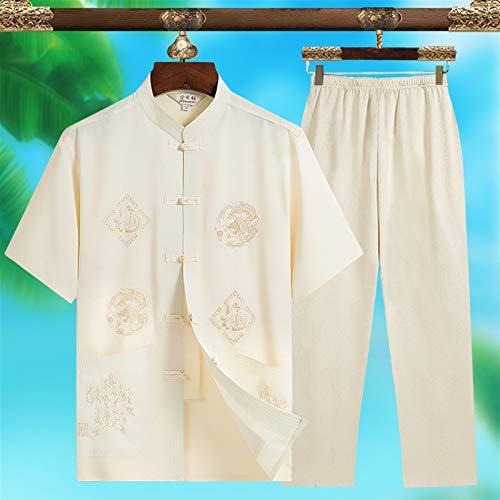 LINFENG Primavera Verano Traje de meditación Zen para Mujeres Traje Tradicional Chino de Tai Chi Ropa de Artes Marciales Ejercicios matinales Ropa de Kung Fu (Color : White-C, Size : Small)