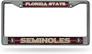 Rico Industries NCAA Florida State Seminoles Bling Chrome License Plate Frame with Glitter Accent