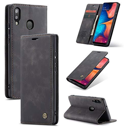 AKC Cover Compatibile per Samsung Galaxy A20E Custodia Pelle Portafoglio con Supporto Flip Magnetica Caso Anti-Slip Flip Pieghevole-Vino Rosso