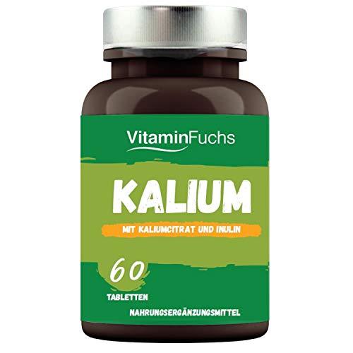 Kalium Tabletten hochdosiert - 450 mg (45{56f9f0dd370fe6246745e6425ebb672dcddf678858e0f3ef7dc87ce87069fd2a}*) je Tablette, ideal für Muskeln, Nerven, Blutdruck. Kaliumcitrat 60 Tabletten von VitaminFuchs
