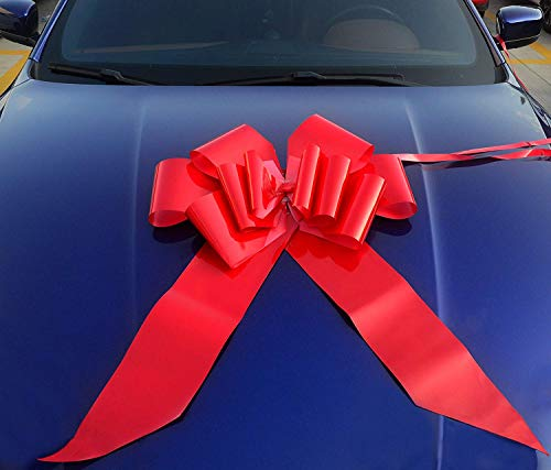 "Yeeper 23"" Red Car Bow Giant with 56"" Ribbon Strings for Wedding, Party Decor, Birthday, Graduation, Christmas Gifts & Special Presents"