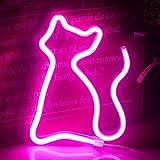 Ineolife Letrero de Luz de Neón Para Gatos Letreros Con Luces LED USB/Batería Luz Nocturna de Animales Neón Para Niños Habitación Decoración de Pared Suministros Para Fiestas