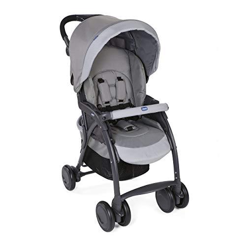 Chicco Simplicity Plus Top Kinderwagen, leicht, zusammenklappbar, von 0 Monaten bis 15 kg, neigbar, mit Schutzhülle, Schlafposition, kompakter Verschluss, doppelter Korb – Grau