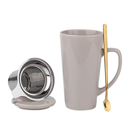 SPSCO Porcelain Tea Mug with Infuser and Lid16 OZ Large Tea Cup with Filter Spoon Loose Leaf Tea Cup Steeper Maker for TeaCoffeeMilkWomenMenOfficeHomeGift GREY