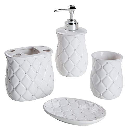 MONTEMAGGI Set 4 Pezzi in Ceramica da Bagno Classic Bianco Matellato. Include Dispenser, portaspazzolino, Bicchiere e portasapone