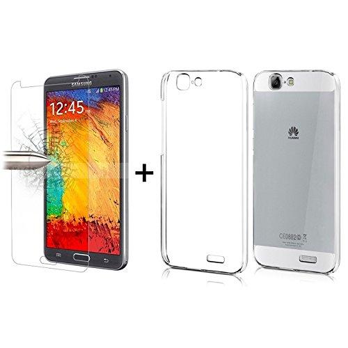 TBOC® Pack: Transparent Gel TPU Hülle + Hartglas Schutzfolie für Huawei Ascend G7. Ultradünn Flexibel Silikonhülle. Panzerglas Bildschirmschutz in Kristallklar in Premium Qualität.