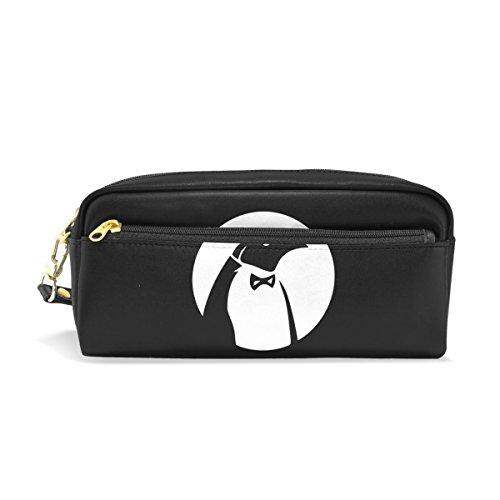 BENNIGIRY Herr Pinguin Bleistift Fall tragbar Pen Tasche Student Schreibwaren Pouch PU Leder Groß Kapazität Reißverschluss Make-up Kosmetiktasche