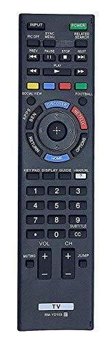 New Aurabeam RM-YD103 Replaced Remote fits for Sony KDL-60W630B RM-YD102 RM-YD087 KDL-40W590B KDL-40W600B KDL-48W590B KDL-50W700B KDL-48W600B KDL-60W610B KDL-40W580B KDL-32W700B TV LED Smart HDTV