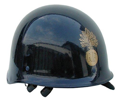 A.Blöchl Originaler gebrauchter Schutzhelm mit Aufdruckabzeichen der Französischen Polizei Gendarme Farbe Blau in gutem Zustand