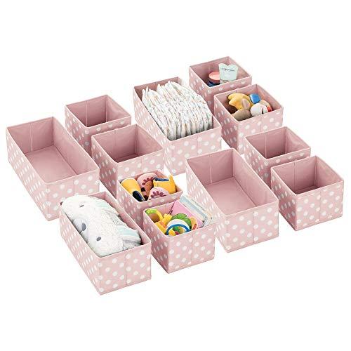 MDESIGN 12er-Set Aufbewahrungsboxen für Kinderzimmer, Bad usw. – Kinderzimmer Aufbewahrungsbox mit Punkte-Muster – 12 Kinderschrank Organizer in 2 Größen aus Kunstfaser – rosa/weiß