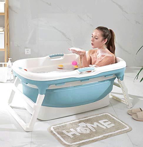 Erwachsene Faltbadewanne, Tragbare Badewanne Haushaltsbadewanne Kunststoff Spa Wannenbad Anti-Rutsch Isolierung (Color : Blue -B)