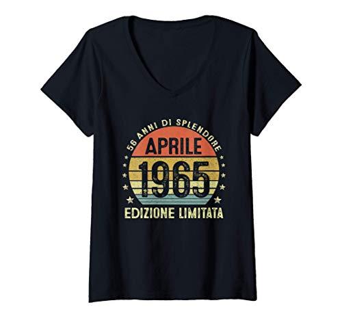 Donna 56 Anni Compleanno Uomo Donna Regalo Vintage Aprile 1965 Maglietta con Collo a V