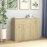 Sideboard Sonoma-Eiche 88×30×70 cm Spanplatte,Moderner Allzweckschrank, Style Home, Kommode, Sideboard, Wohnzimmerschrank, für Schlafzimmer Wohnzimmer, Esszimmer, Büro, Flur