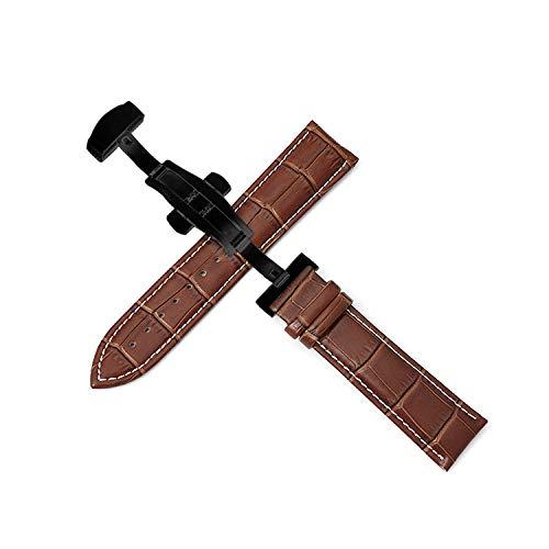 Correas de reloj correa de cuero 12-24 mm pulseracorrea dehebilla de mariposa automática de doble empuje-Black_buckle_brown-w_18mm